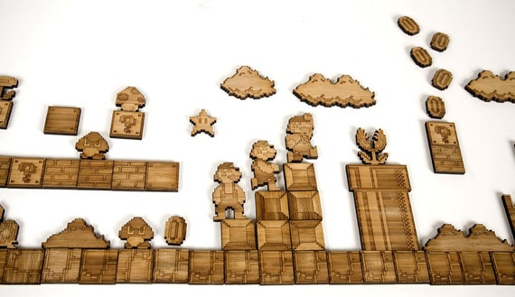 Super Mario Brothers Sprite Magnets, Bamboo Large Set