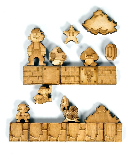 super mario brothers sprite magnets natural birch