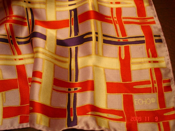 Vintage Stylish Echo Pure Silk Scarf  - 27 Inches Square