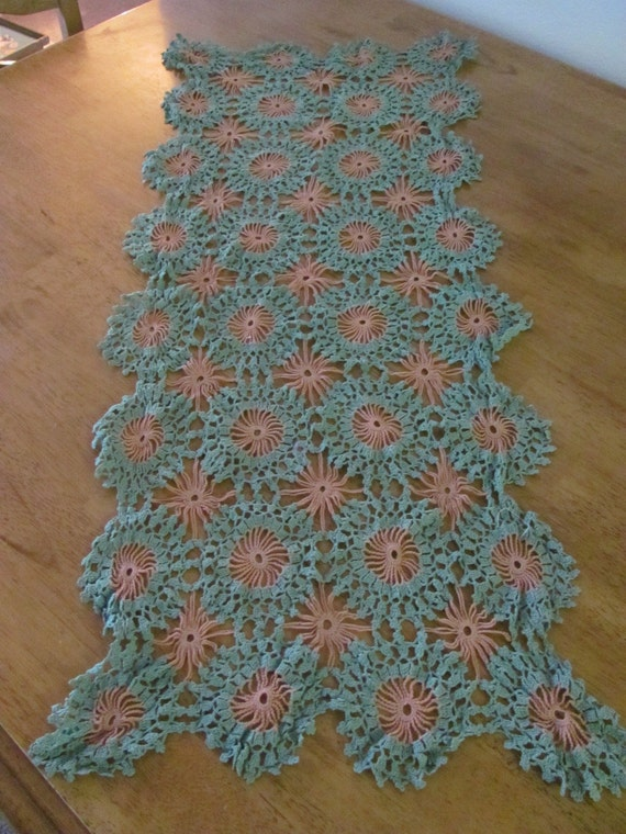Vintage or Antique 14 x 34 Crocheted Table Runner or Dresser Top Perfect