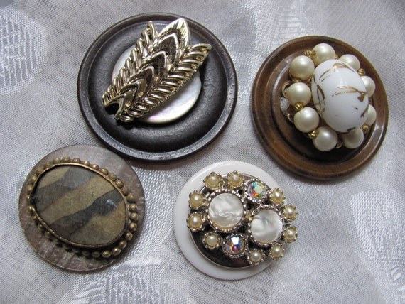 Set of 4 Beautiful Handmade Refrigerator Magnets - Antique Buttons and Earrings