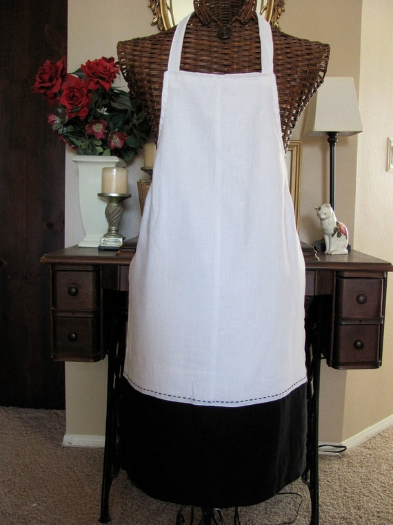 Stylish Ladies Large Reversible Linen Full Apron Made From Recycled Clothing