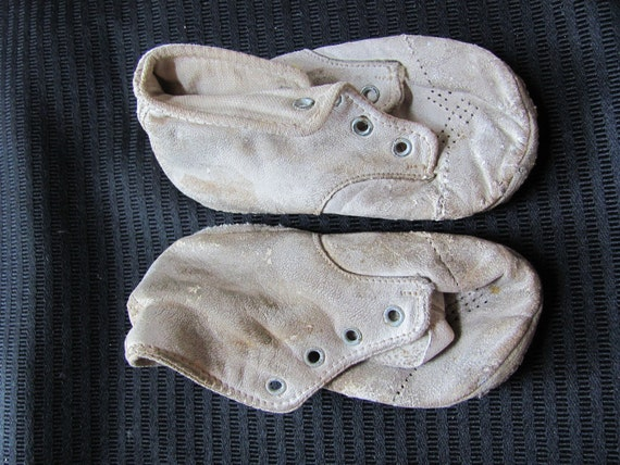 Antique Vintage Leather Baby Shoes