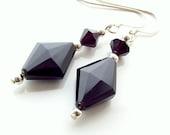 Black onyx stone earrings, semiprecious earrings, sterling silver earrings