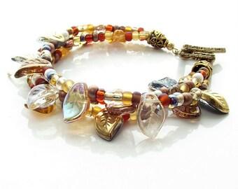 leaf bracelet, beaded bracelet, autumn jewelry, fall bracelet