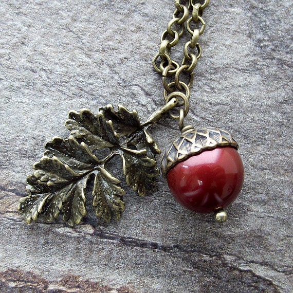 Swarovski pearl acorn and oak leaf pendant, red acorn, antique brass necklace, woodland jewelry