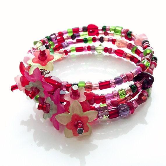 beaded memory wire bracelet, floral bracelet, cuff bracelet, wrap bracelet
