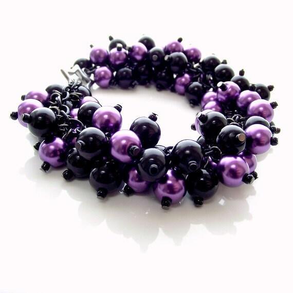 pearl cluster bracelet, black purple pearl bracelet, chunky bracelet, gothic bracelet