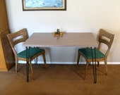 Vintage Reclaimed 1960s Table Top with Mid Century Hairpin Legs