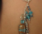 Handmade swirled gold & turquoise clay lariat beaded necklace