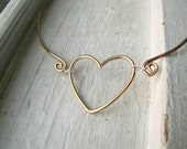 Wire Heart Necklace- Gold Heart Necklace- Love Necklace