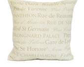 destination throw pillow cover khaki cream paris french typography linen decor 18x18