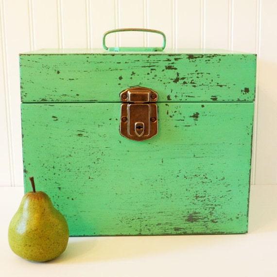 Vintage, painted, metal,filing,file,box,green,jadite,distressed,worn,container,storage