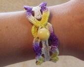 Vintage Inspired Crochet Bracelet in Purple Yellow and Beige