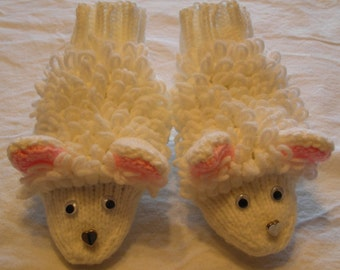 Knit Adult Sized Sheep Slippers - Knitting Pattern for Kindle, iPad, Nook, Kobo, Sony