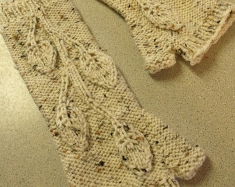 Hand Knit Beige Arm Warmers or Fingerless Gloves with Leaves and Vines