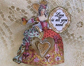 Marie Antoinette Love Paper Doll Hanging Valentine Decoration Or Cake Topper  - With Unique Spinning Heart Insert  CS7PD