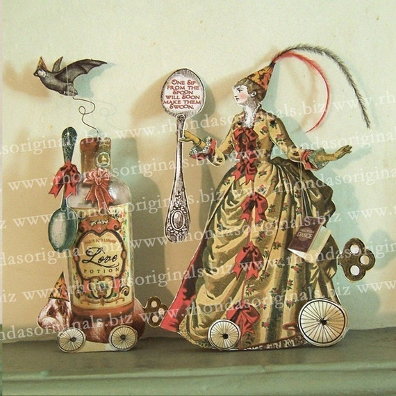 INSTANT Download - 3D Halloween Or Valentine Paper Doll - Printable Woman With Love Potion Bottle - Altered Art  HP16DP