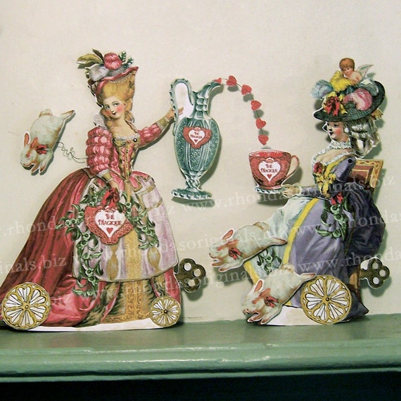 Articulated Marie Antoinette 3D Valentine Card Or Paper Doll Decoration INSTANT Download - French Magic Tea Leaf Reader MA14M