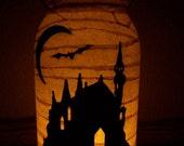 Grungy Primitive Halloween Haunted House Lantern