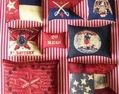 8 Primitive Fourth of July Flag Ornies Tucks Shelf Sitter Americana Patriotic Folk Art Folkart 4th of July Grungy