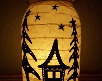 Grungy Primitive Christmas Gingerbread House Lantern Light Luminary Decor Decoration Table Mantel Porch Winter Gift Early Look Worn
