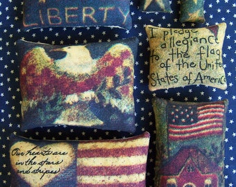 Set of 7 Primitive Fourth of July Grungy Bowl Filler Ornies Tucks Pillows Miniature Gift Patriot Patriotic America USA