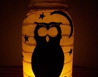 Grungy Primitive Halloween Owl Lantern Light Candle Holder Luminary Decor Decoration Mantel Porch Farmhouse Table Fall