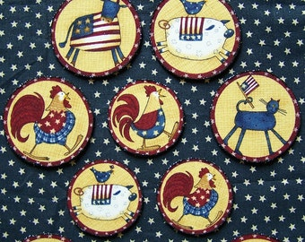Set of 11 Patriotic Americana Fourth of July Magnets
