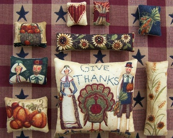 Set of 9 Grungy Primitive Thanksgiving Ornies Tucks Bowl Fillers Fall Gift Potpourri Made in Texas USA