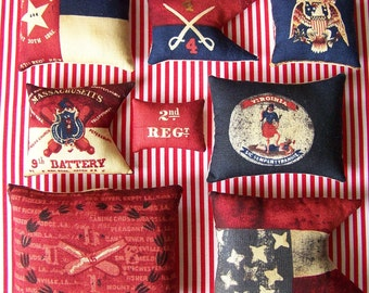 8 Primitive Fourth of July Flag Ornies Tucks Shelf Sitter Americana Patriotic Folk Art Folkart 4th of July Grungy