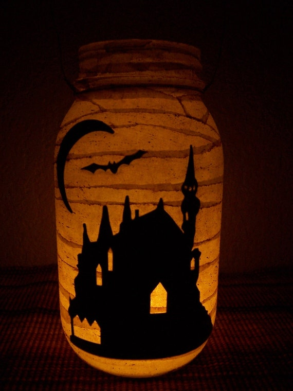 Grungy Primitive Halloween Haunted House Lantern Light Candle Holder Table Centerpiece Mantel Camping Wedding Decoration Decor Gift