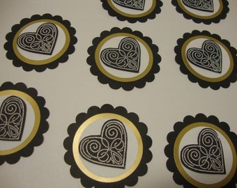 Black gold and white heart embellishments set of 8