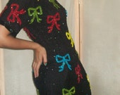 1980s Black Sequin Dress with Bow Detail