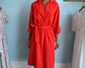 1980s Bright Red Spring Dolman Sleeve Dress