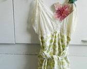 Ivory and green slip dress upcycled, size small medium