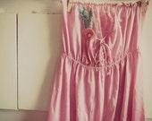Upcycled pink vintage slip tunic shirt mini dress-size xsmall small