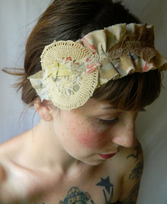 antique lace ruffled shabby chic light beige soft pink romance eco OOAK jersey headband necklace collar