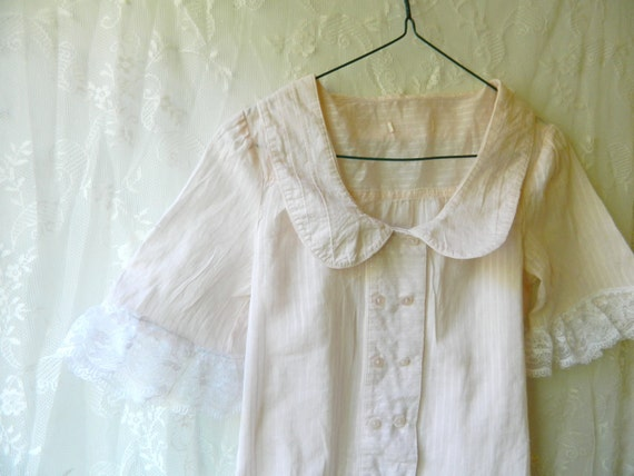 SALE Upcycled blouse - soft pink sheer button-up - xsmall small