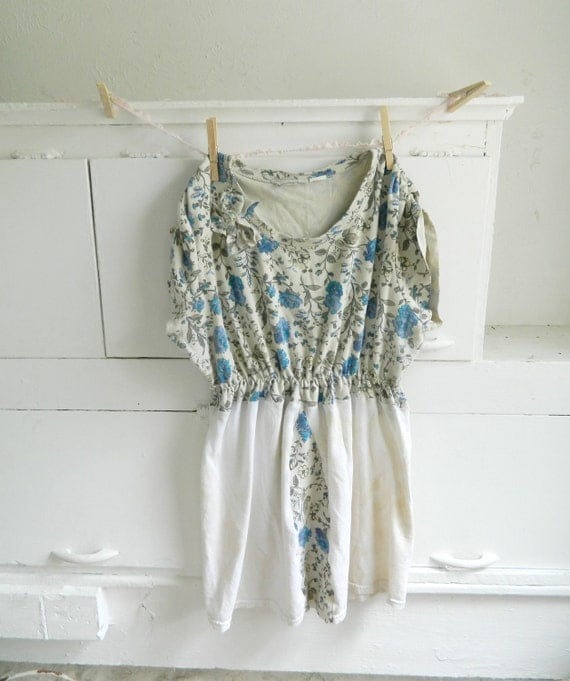 Floral jersey tea stained ruched dress, shabby chic, boho bohemian, anthropologie, rustic, feminine, medium large