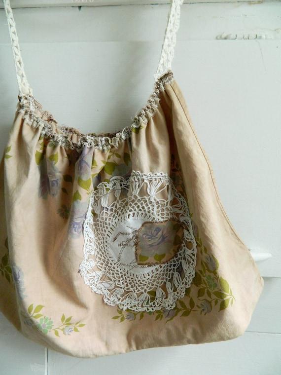 Upcycled shabby chic purse bag, boho bohemain, anthropologie, tea stained