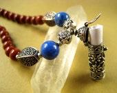 RESERVED for r0se34 - Sterling Silver, Lapis Lazuli, and Orange Coral Secret Message Vial Locket Necklace