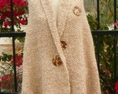 Hand Knit Shawl - Cape -Wrap Extremely Soft Tan Mohair Blend Outerwear