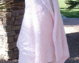 Hand Knit Shawl Wrap Cape Light Pink Mohair Blend Outerwear