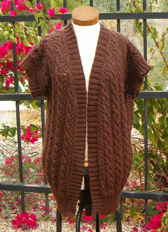 Hand Knit Handmade Vest Lace & Cable in Brown Outerwear Plus Sizes Avaialble