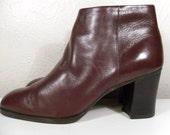 Sz 7M Brown Vintage Women Nine West Stack Heel Ankle Boot