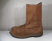 9D Men Brown Suede Vintage VULCAN Cowboy Boot Made In USA