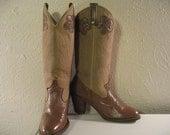 Vintage Multi Brown Acme Mid Calf Flower Cowboy Boot Size 5.5M