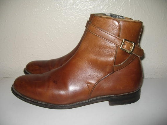 Vintage Brown Leather Henry Philippe Buckle Ankle Boot Size 7.5 Made In England