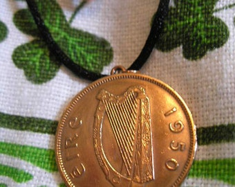 1950 IRISH Copper Coin Birth Year Coin Necklace/ Penny Ireland Jewelry